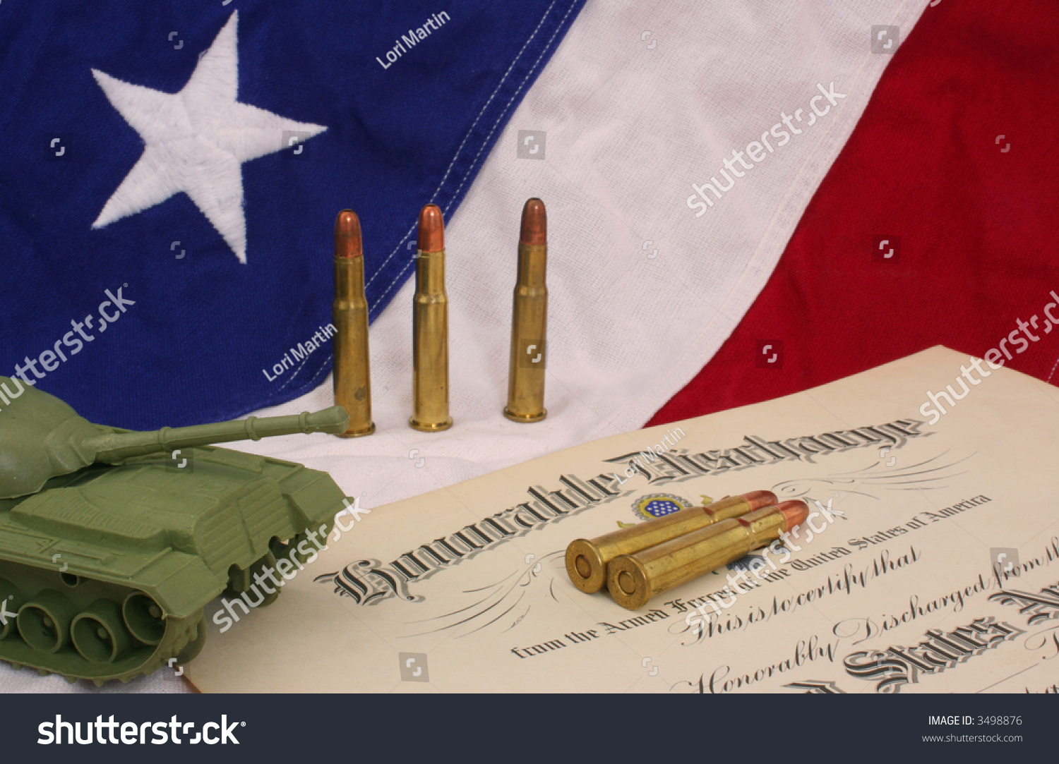 Honorable Discharge Certificate Bullets Plastic Army Stock Photo