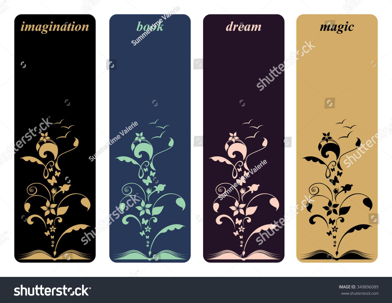 Bookmark Design Flowers Butterfly Design Creative Stock Vector ...