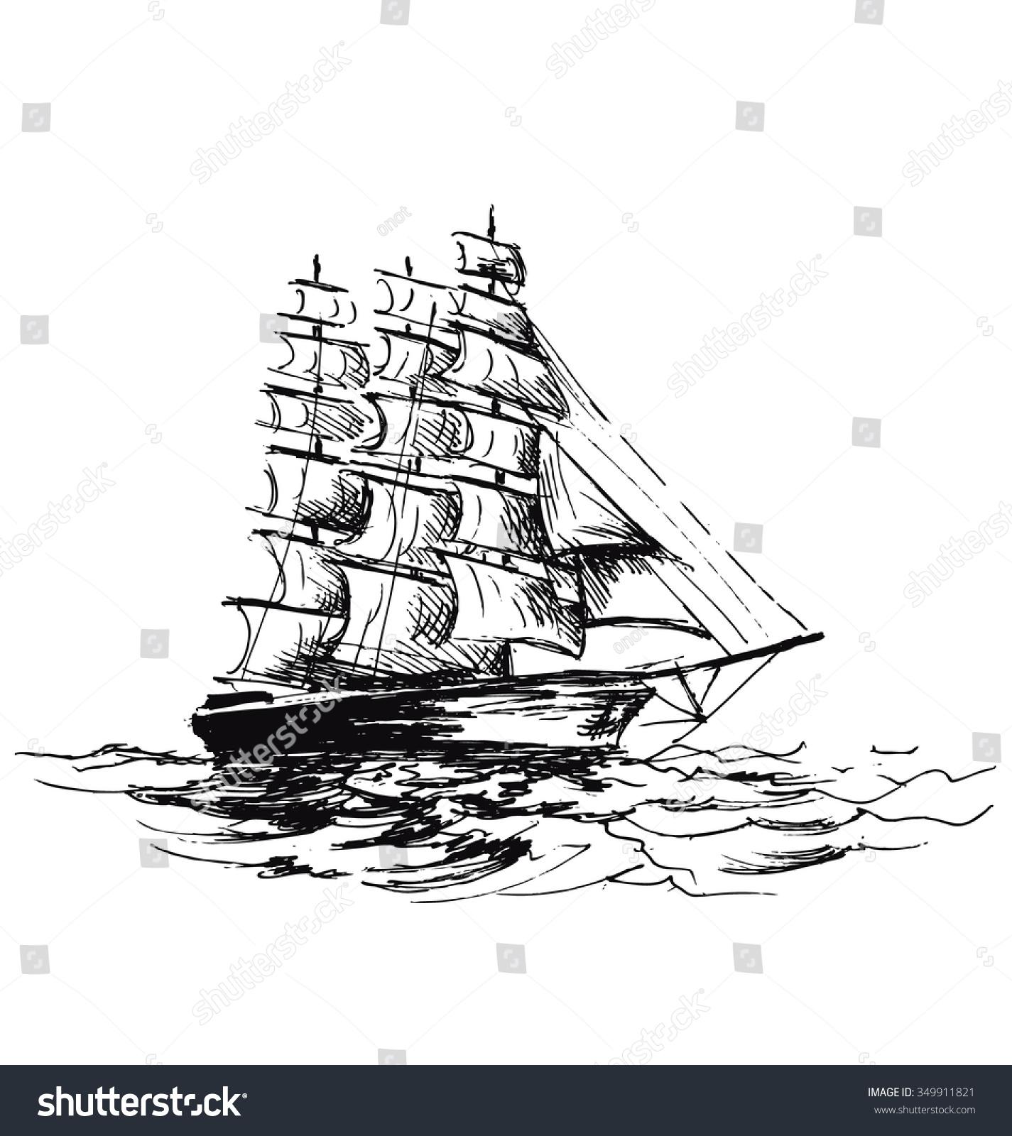 hand sketch sailboat stock vector 349911821 shutterstock