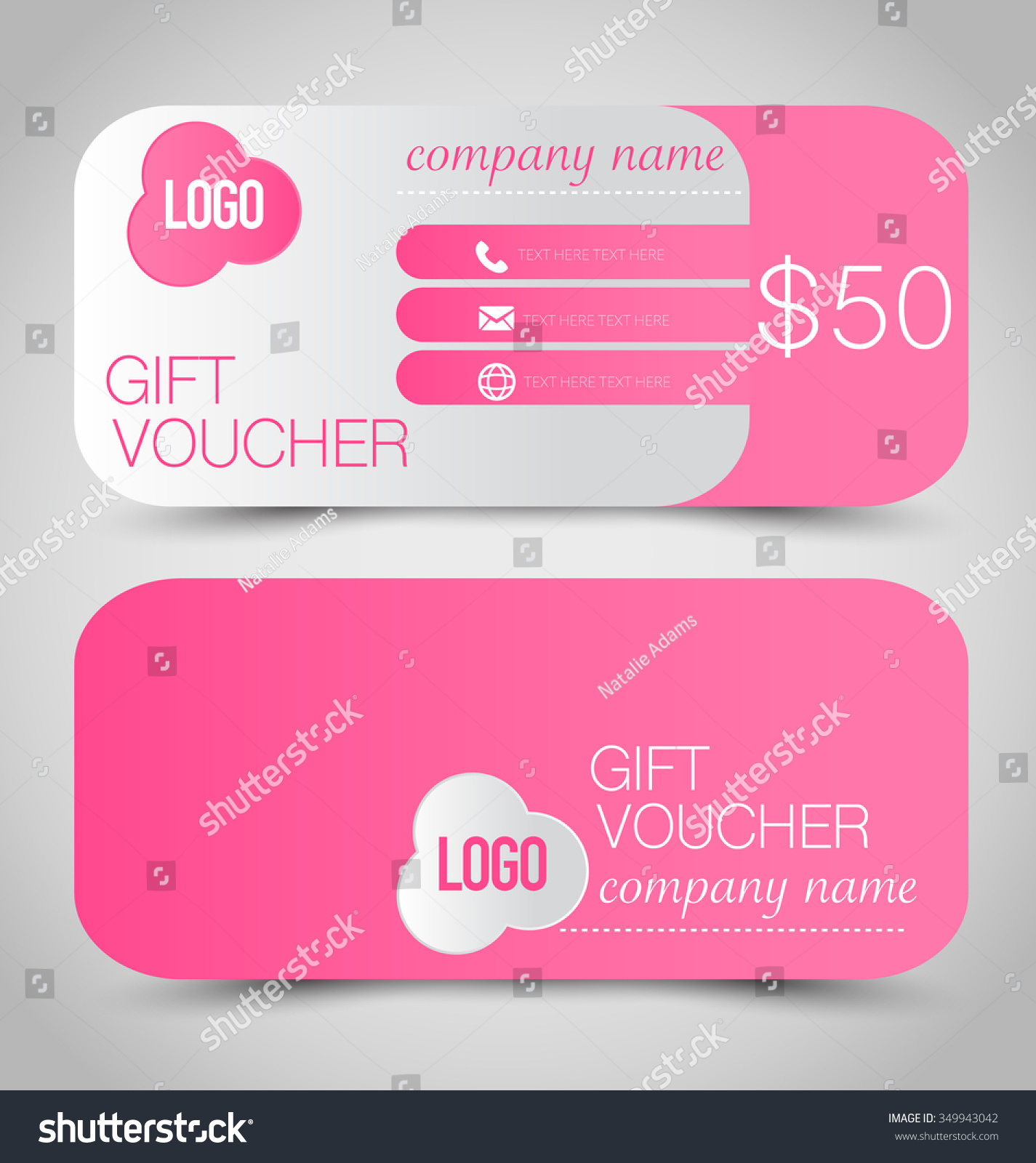 gift card voucher business banner template stock vector 349943042 gift card voucher business banner template pink color