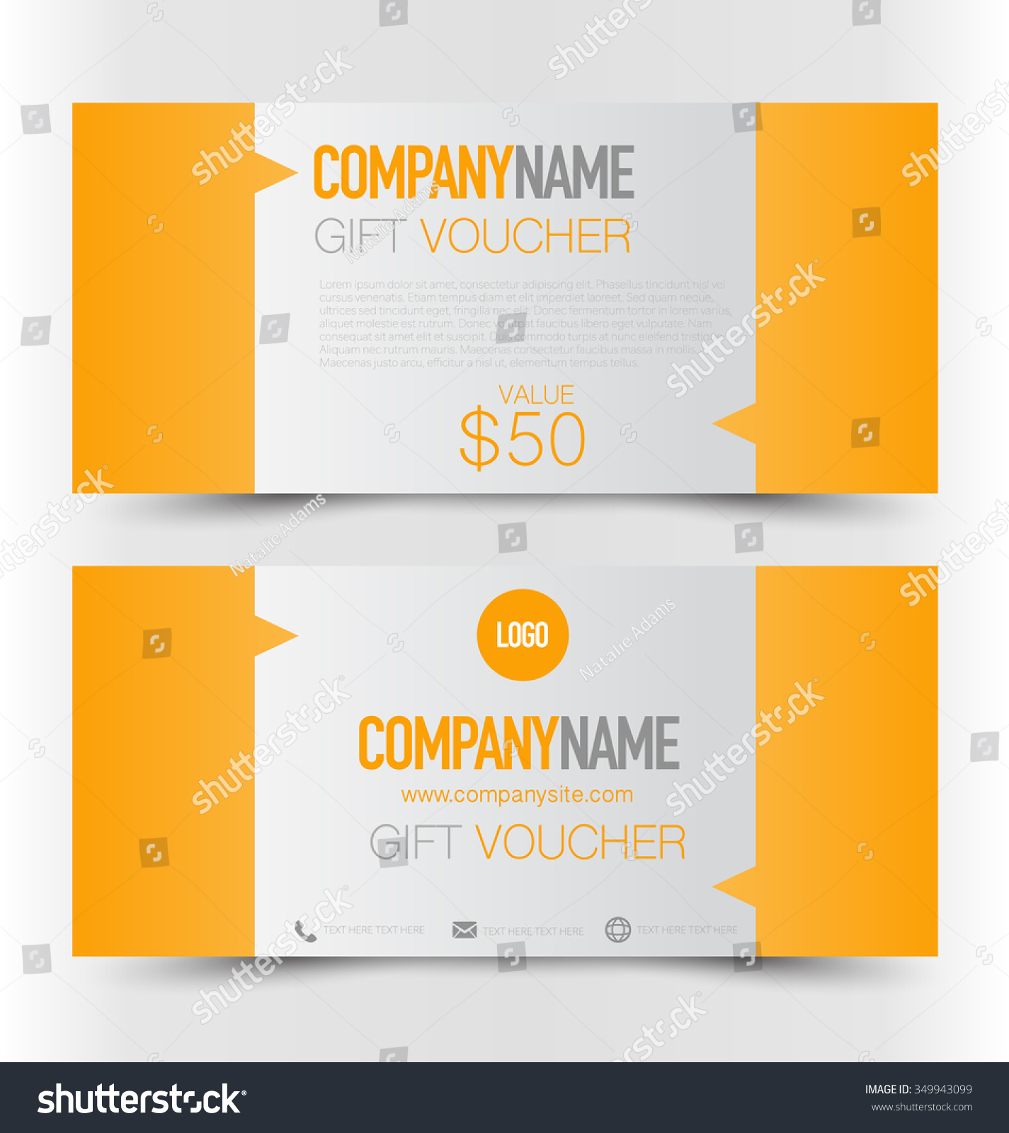 gift card voucher business banner template orange color stock save to a lightbox