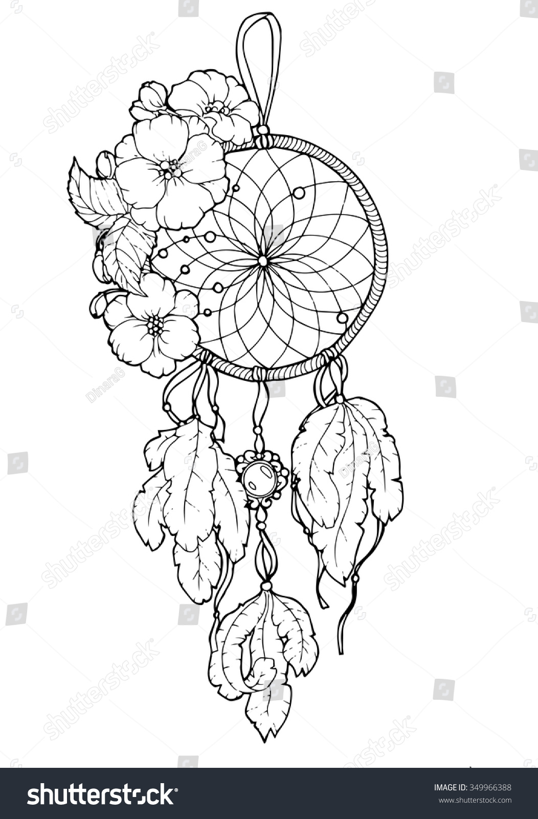 Line Art Illustration : Dreamcatcher vector illustration lineart style graphic