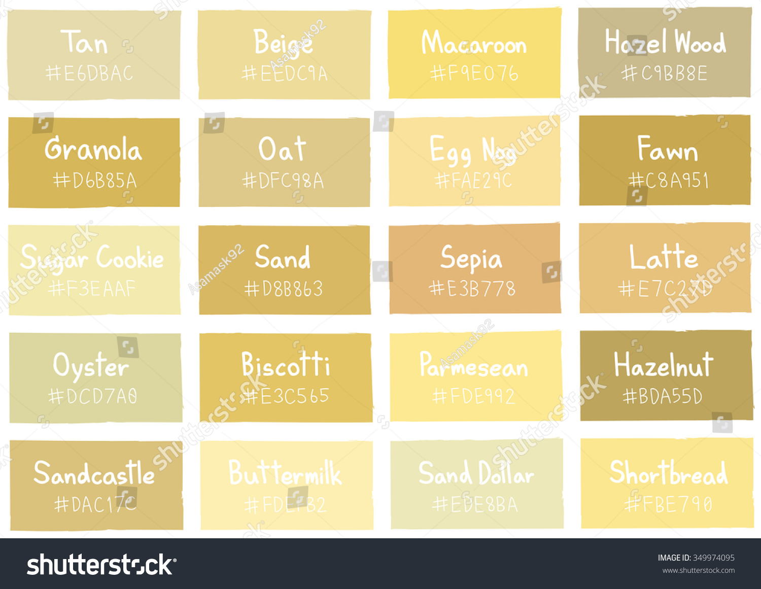 Beige color chart with names pictures to pin on pinterest for Shades of beige paint colors