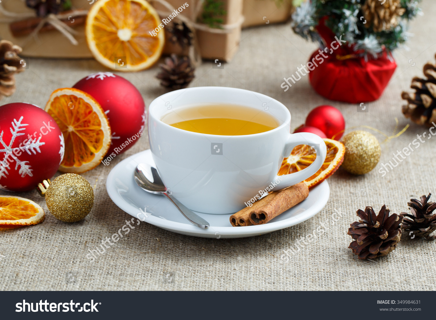 Christmas Table Cup Green Tea Gifts Stock Photo (Edit Now) 349984631 ...