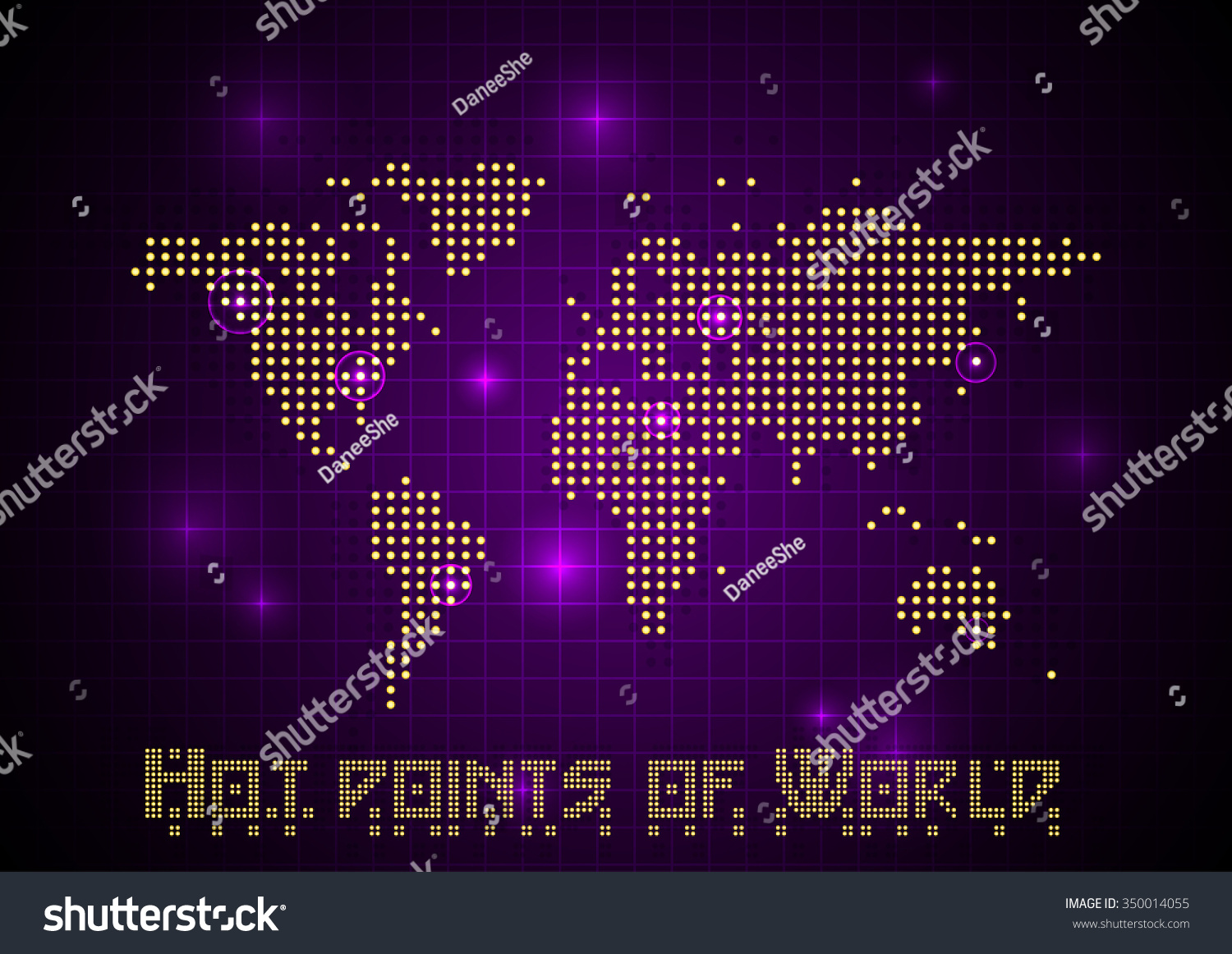 Abstract vector dotted world map light stock vector 350014055 abstract vector dotted world map with light points on deep dark violet background map of sciox Image collections