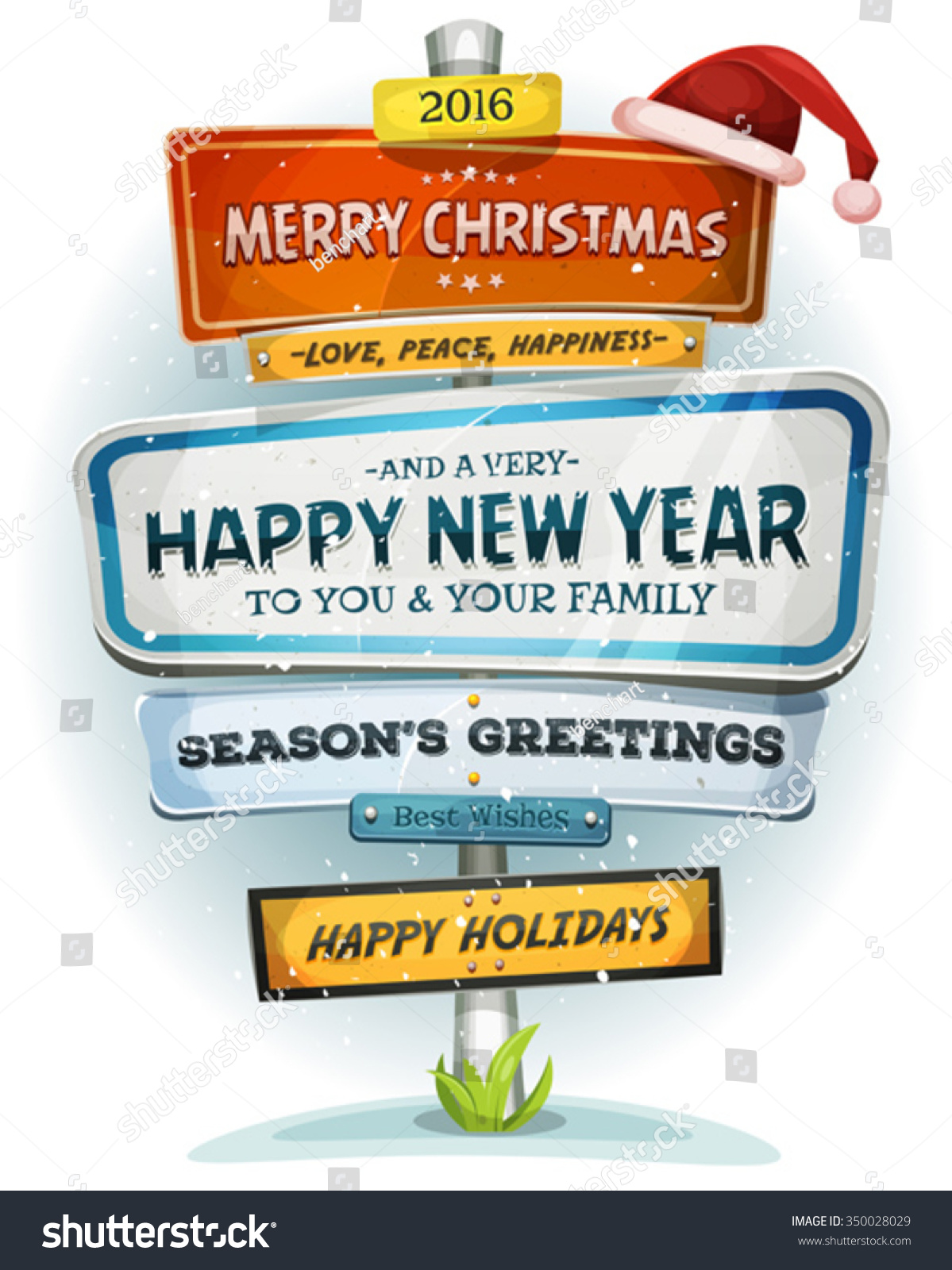 Merry Christmas Happy New Year On Stock Vector Royalty Free