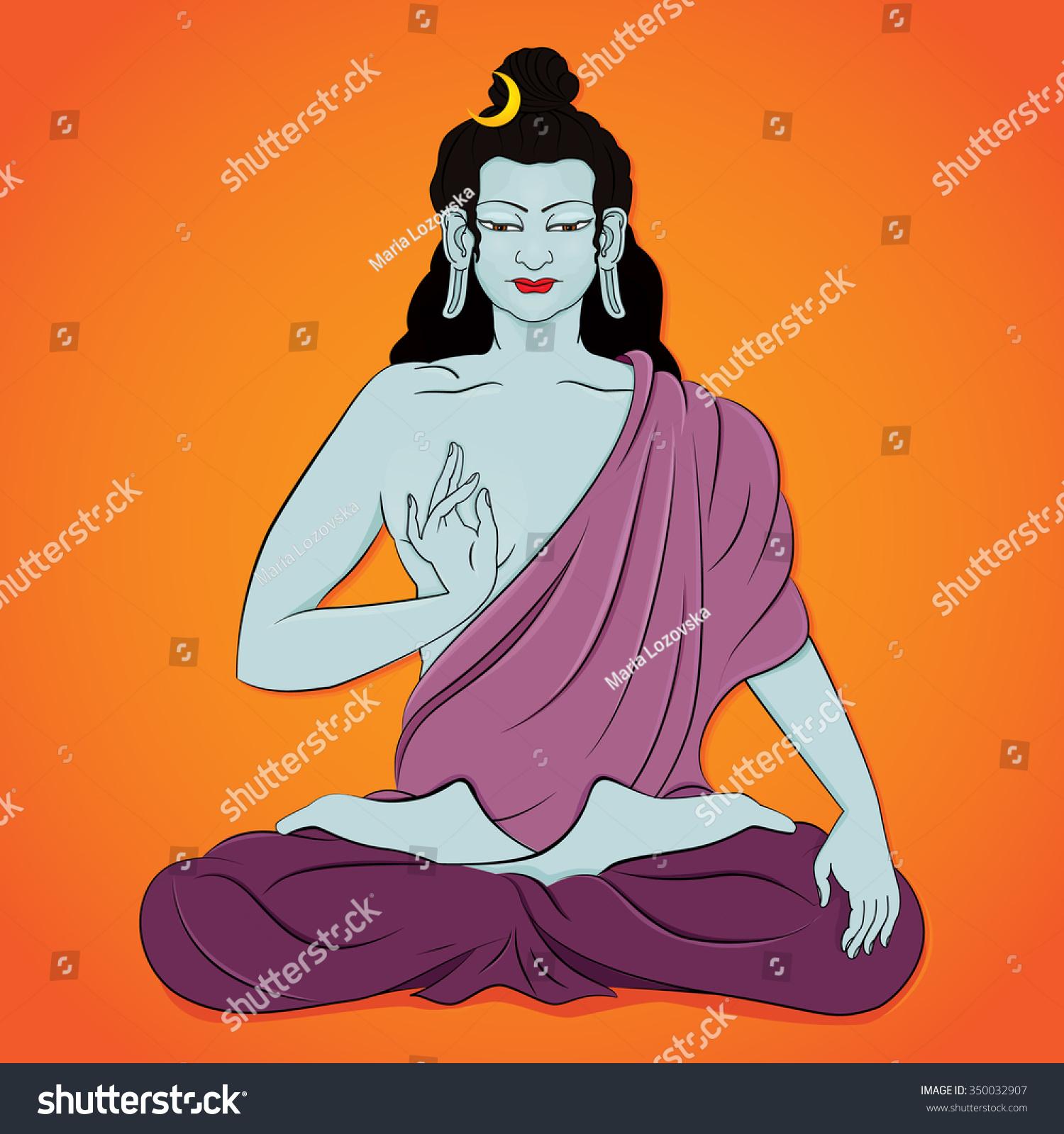 Hindu God Shiva Sitting Lotus Pose Stock Vector 350032907 ...