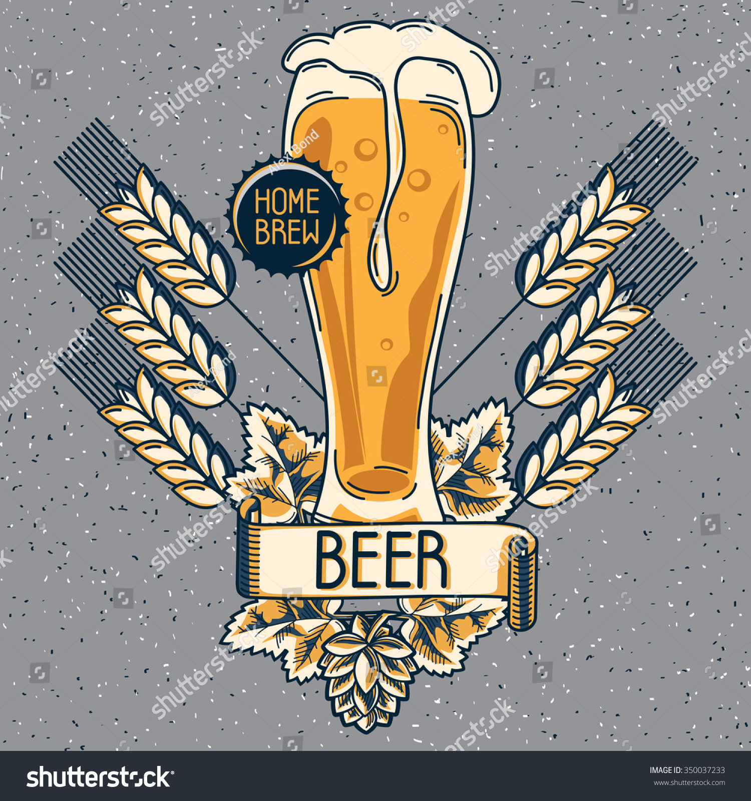 Home brew craft beer emblem stock vector illustration for Home brew craft beer