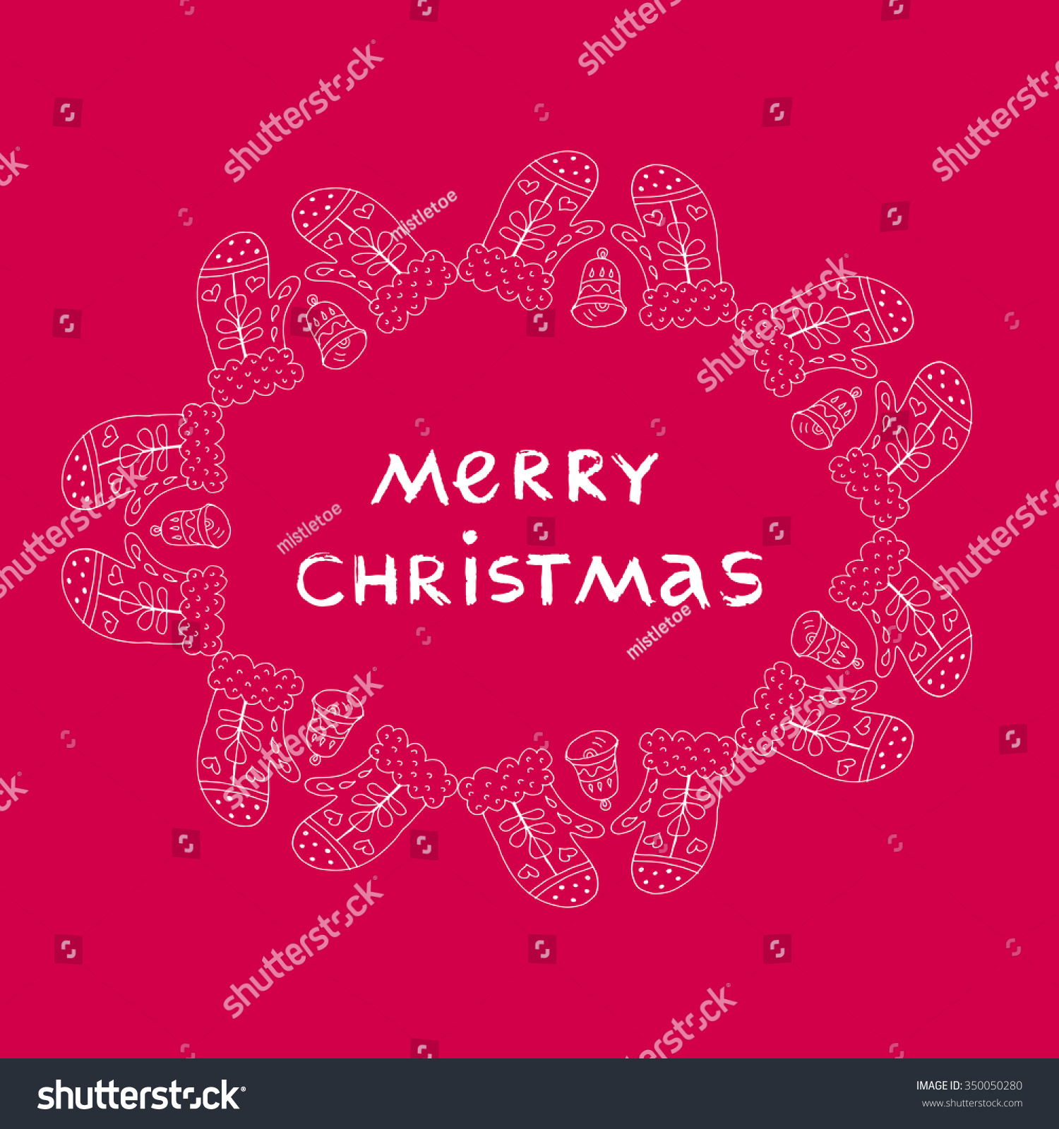 Unique Hand Drawn Christmas Greeting Card Stock Vector 350050280