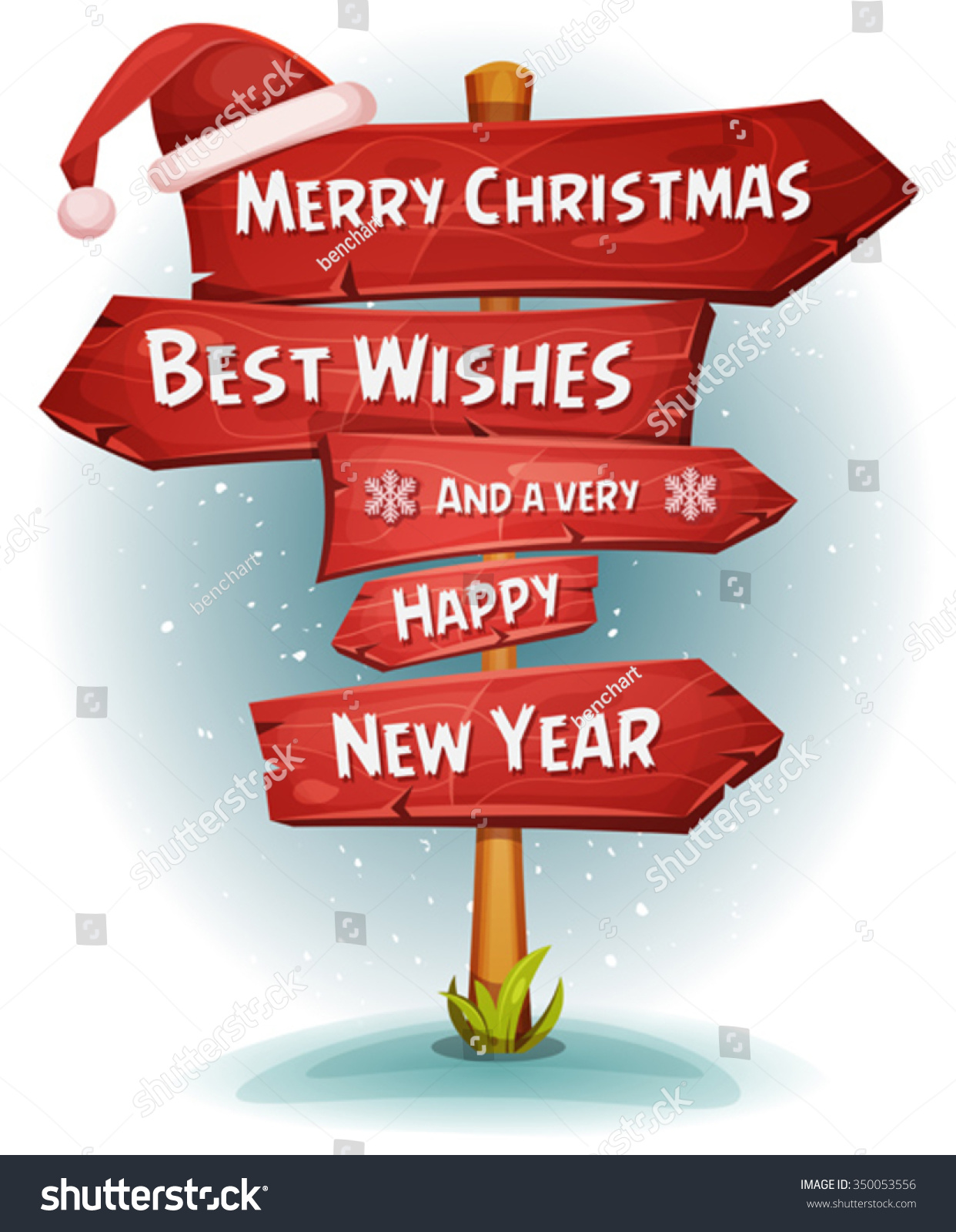 merry christmas wood road signs arrows illustration of a cartoon comic merry christmas and happy - Merry Christmas Wooden Sign