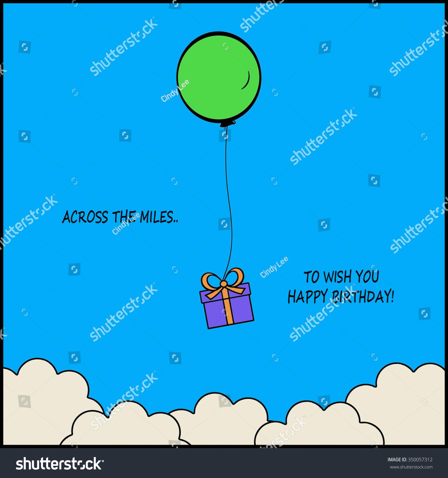 Across Miles Happy Birthday Stock Illustration 350057312