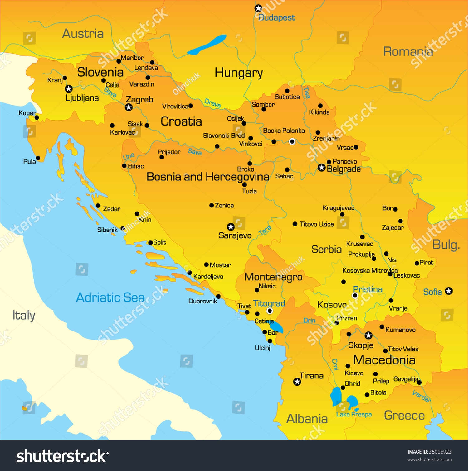 Vector Color Map Of Balkan Region - 35006923 : Shutterstock