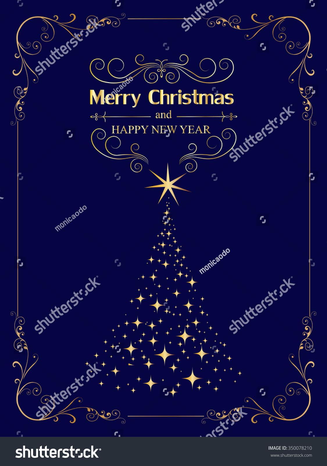 New Year Christmas Greetings Design Elegant Stock Vector Royalty