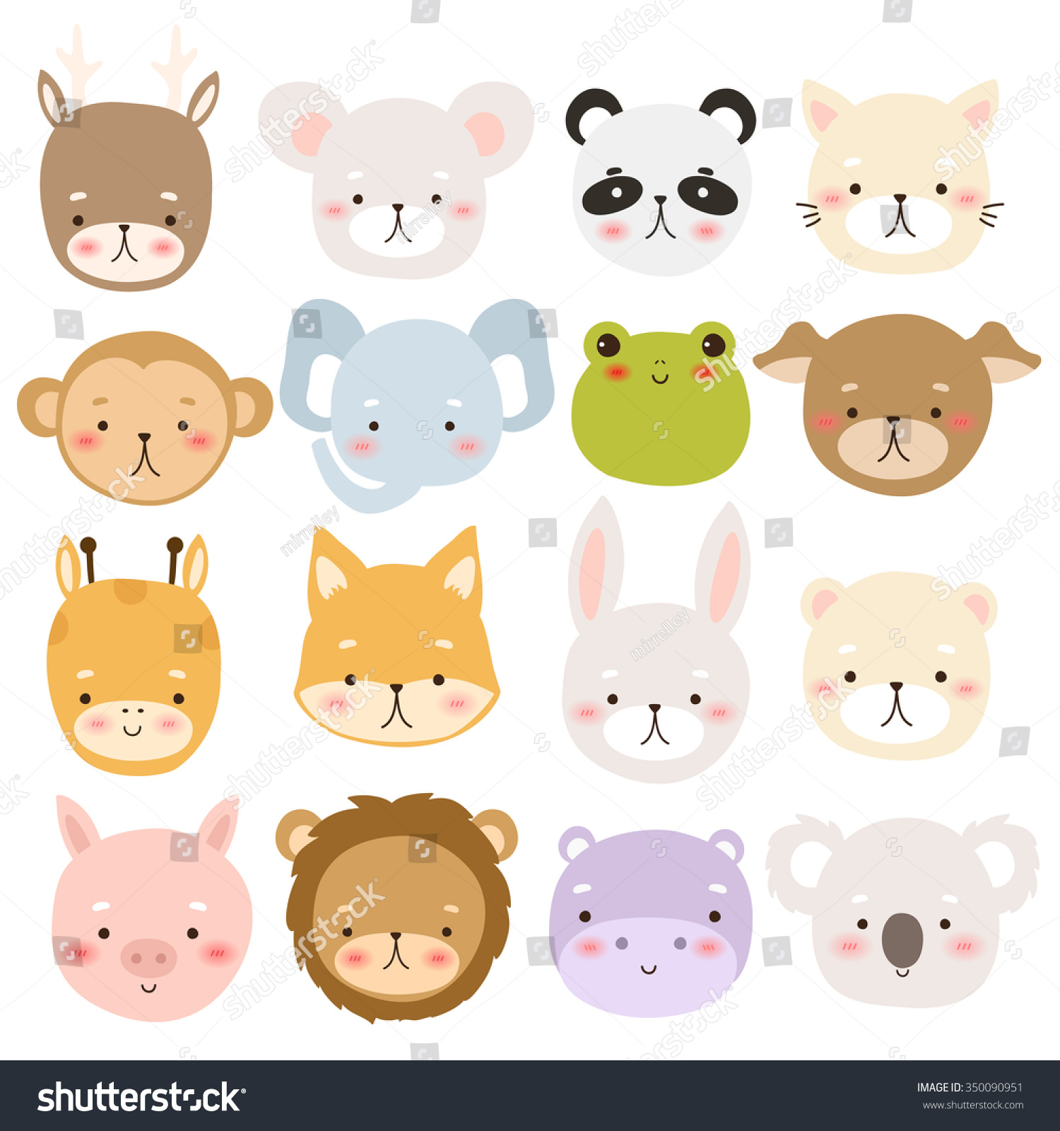 set sixteen cute cartoon animal character stock vector 350090951