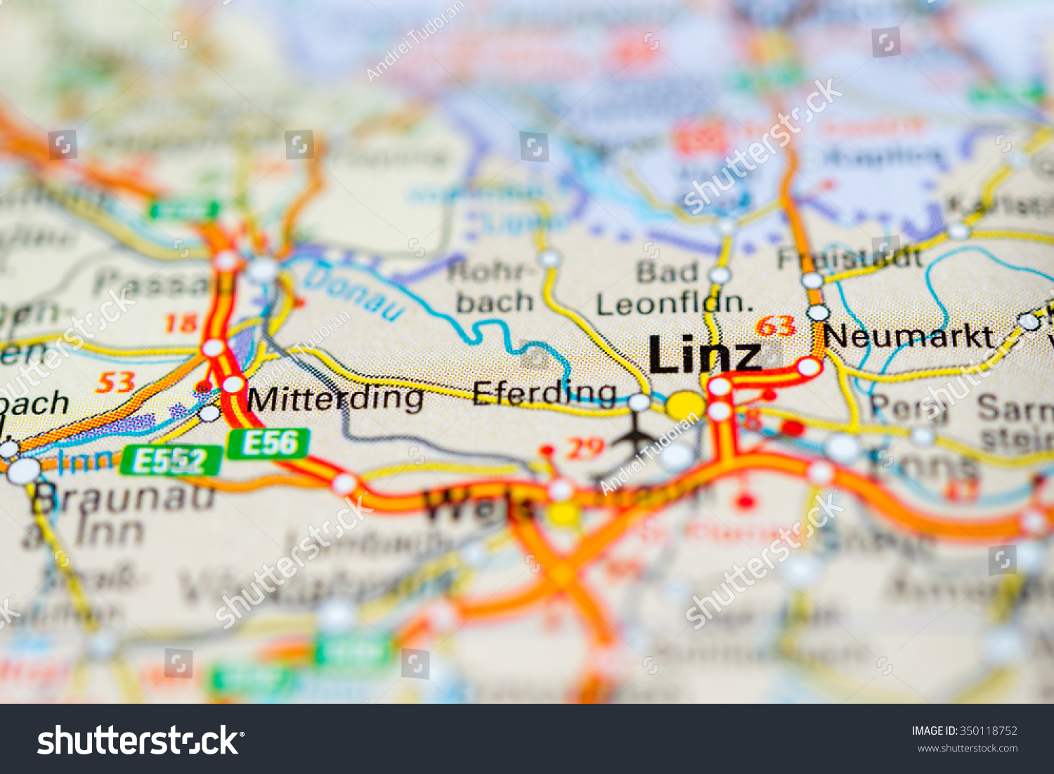 Macro View Linz Austria On Map Stock Photo 350118752 Shutterstock