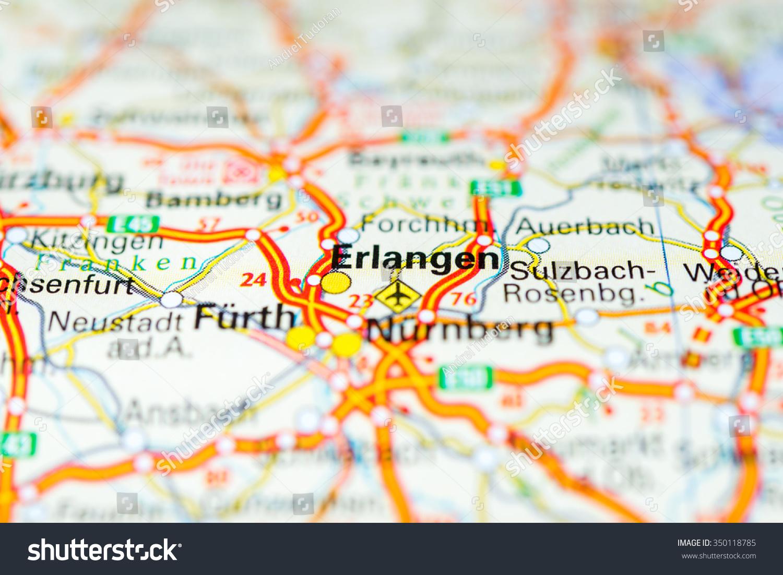 Map Of Germany Erlangen.Macro View Erlangen Germany On Map Stock Photo Edit Now 350118785