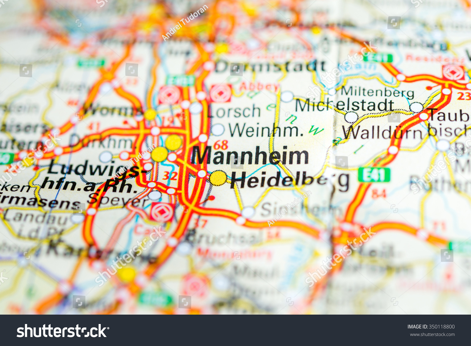 Macro View Mannheim Germany On Map Stock Photo 350118800 Shutterstock