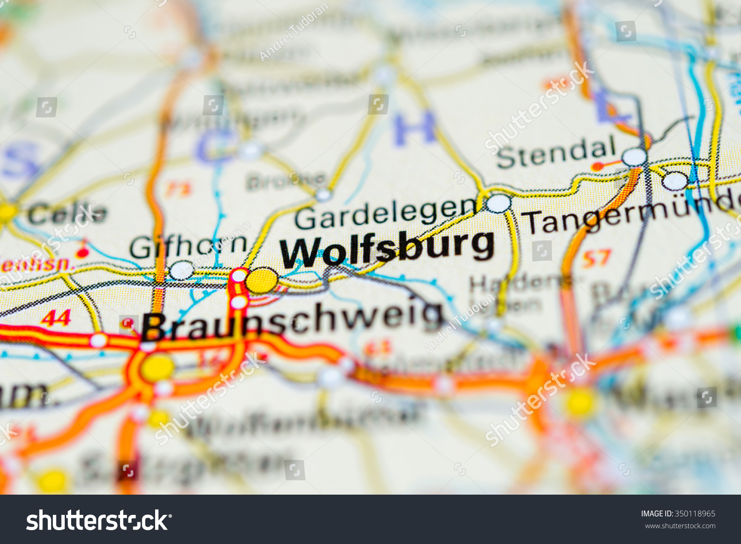 Macro View Wolfsburg Germany On Map Stock Photo - Germany map view