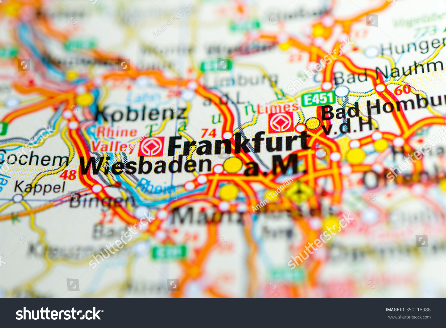Macro View Frankfurt Germany On Map Stock Photo Edit Now 350118986