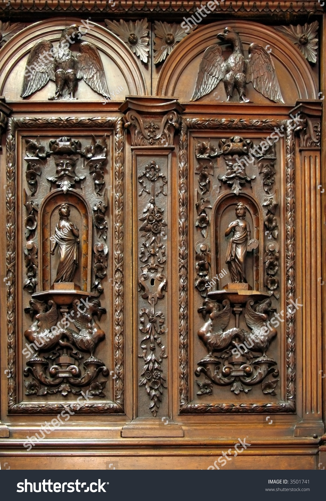 Beautiful Antique Century Furniture Dining Room Table And: Antique Closet With Wood Carvings -- Beautiful Dutch