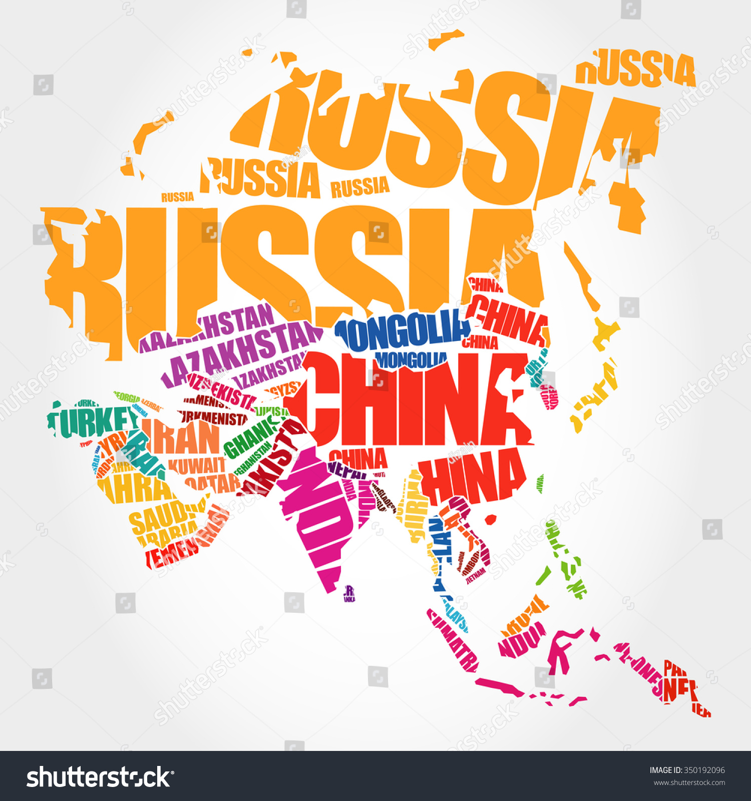 Asia Map Typography Word Cloud Concept Vector 350192096 – Asia Map with Country Names