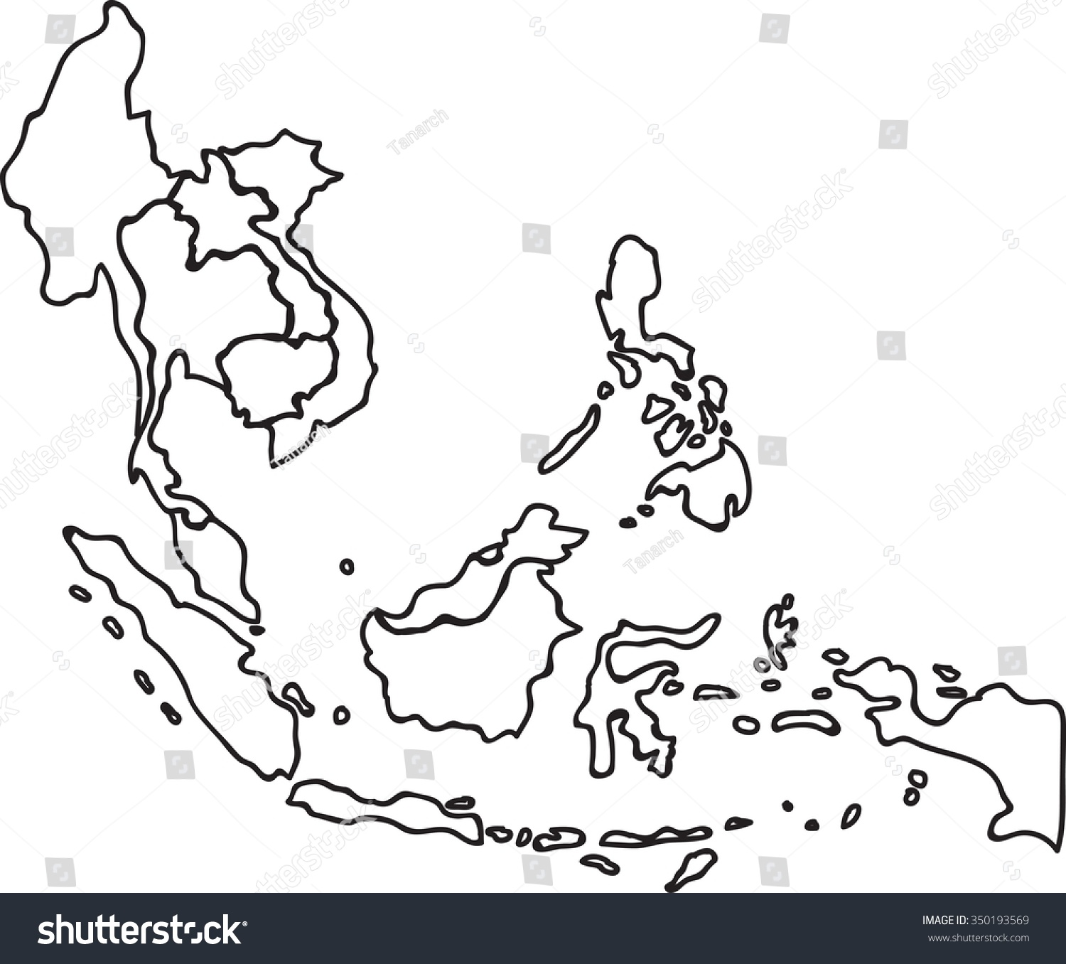 freehand asean map sketch on white stock vector 350193569