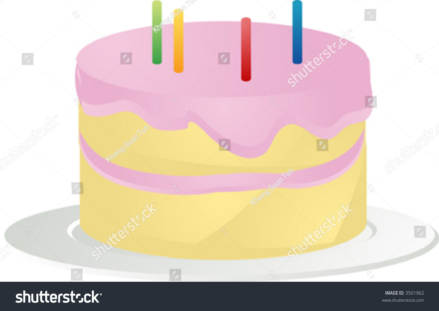 Cake With Icing Vector : Birthday Cake With Pink Icing And Candles, 3d Isometric ...