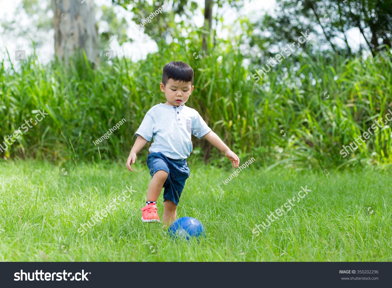 Little Boy Play Soccer Ball At Park Stock Photo 350202296