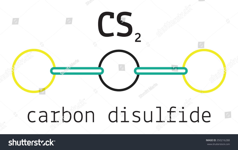 Cs 2 Carbon Disulfide Molecule Isolated On Stock Vector Royalty