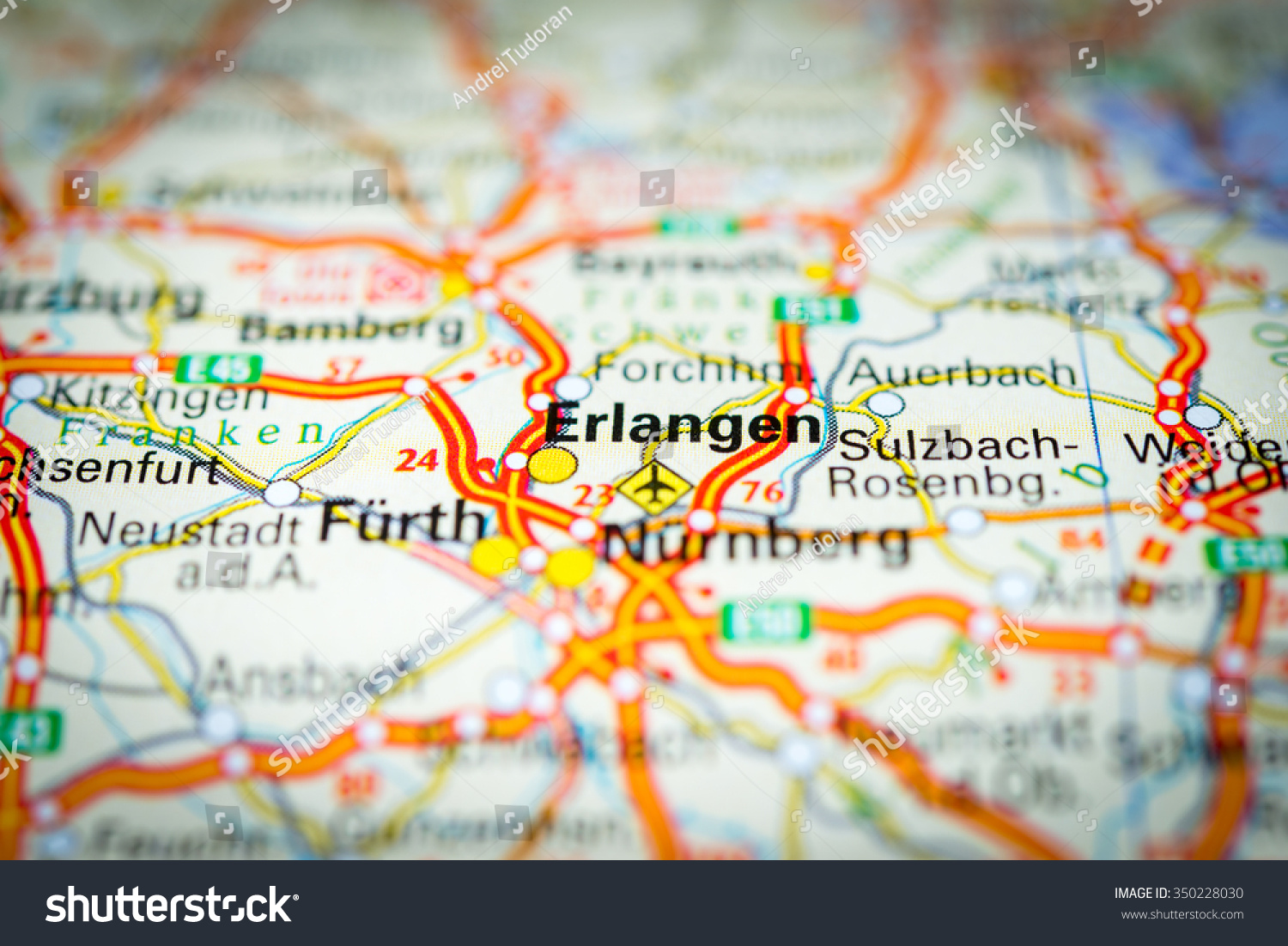 Royaltyfree Macro view of Erlangen Germany on map 350228030