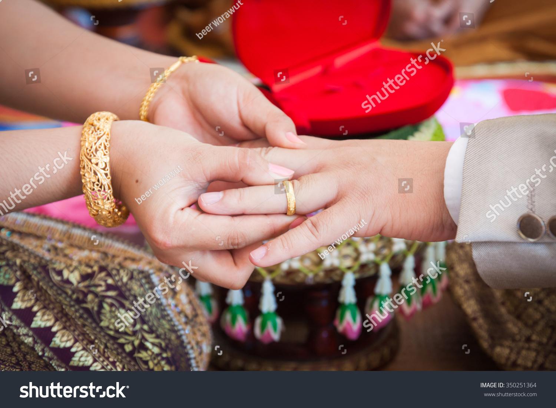 Thailand Wedding Ring Ceremony Stock Photo (Royalty Free) 350251364 ...