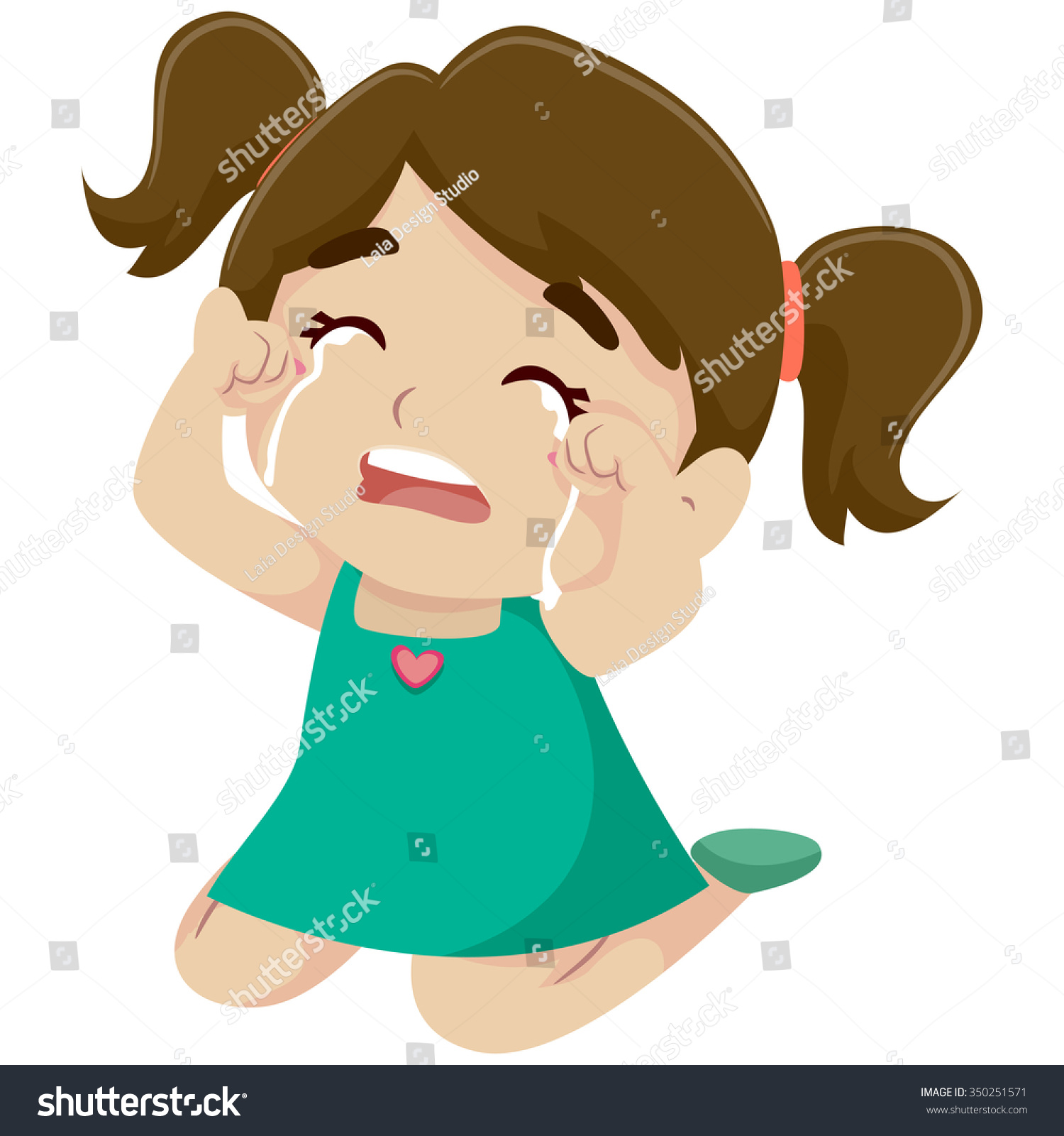 Vector Illustration Little Girl Crying Stock Vector 350251571 ...