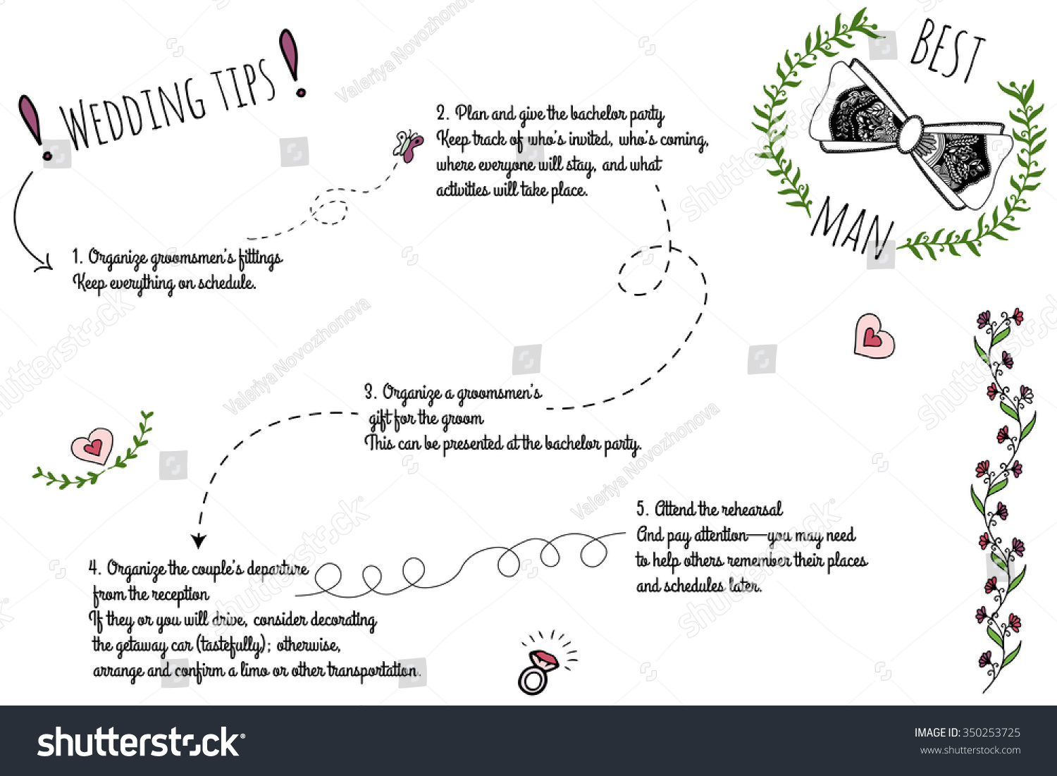 set wedding doodle infographics handdrawn elements stock vector