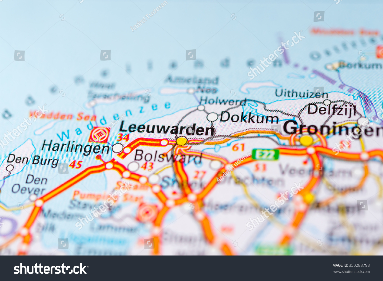 Macro View Leeuwarden Netherlands On Map Stock Photo 350288798