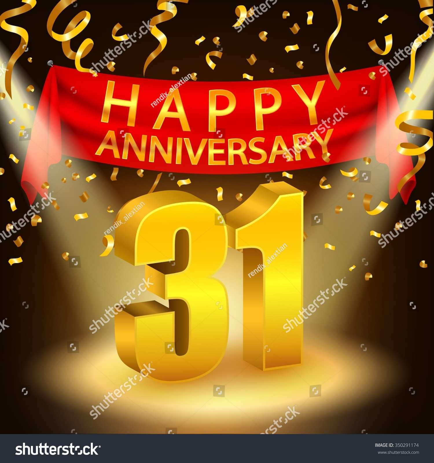 Happy 31st Anniversary Celebration Golden Confetti Stock