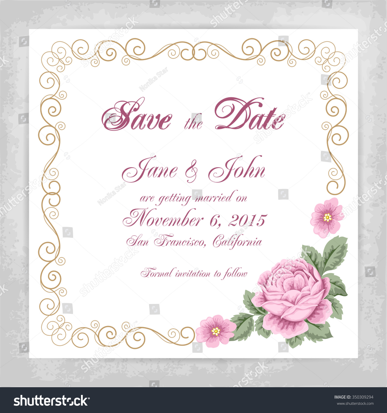 Vintage Wedding Invitation Template Roses Curly Stock Vector HD ...