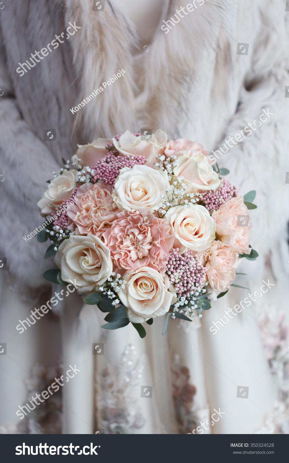 Cream Light Pink Wedding Bouquet Hands Stock Photo Edit Now