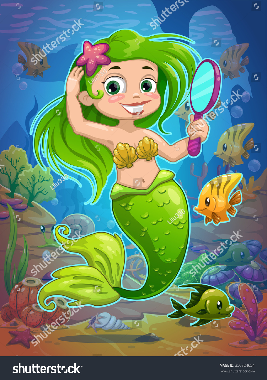 Cute Cartoon Mermaid Long Green Hair Stock Vector Royalty Free