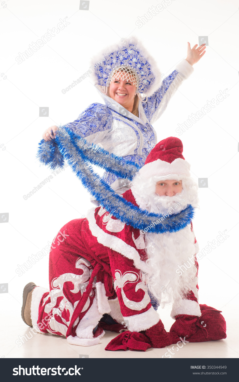 Russian santa claus presents snow girl stock photo