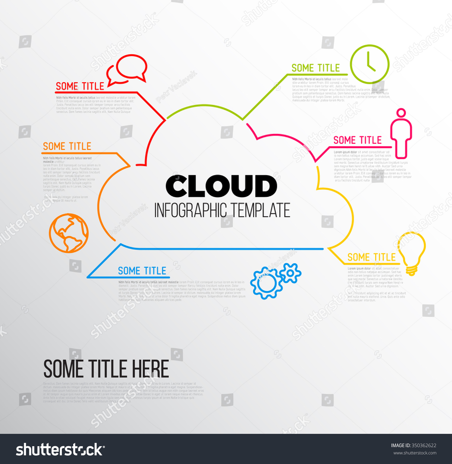 Vector infographic report template made lines stock vector for Cloud template with lines