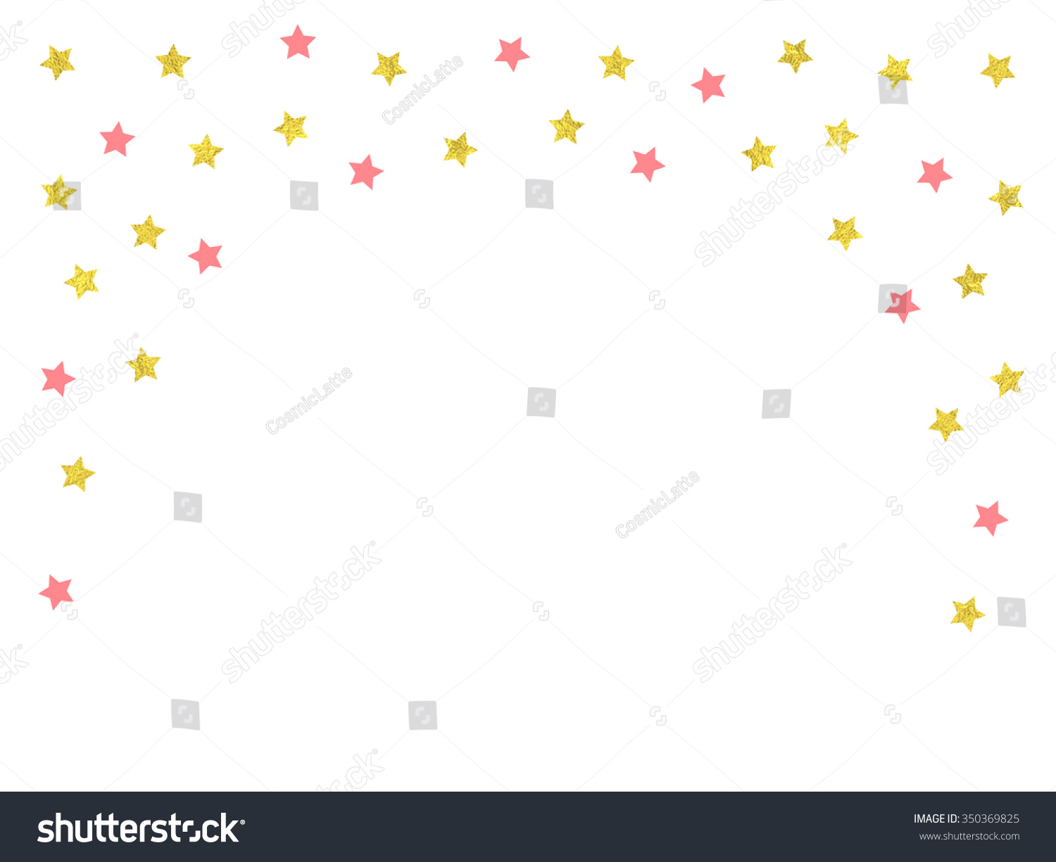Gold and pink stars confetti border vector illustration for greeting