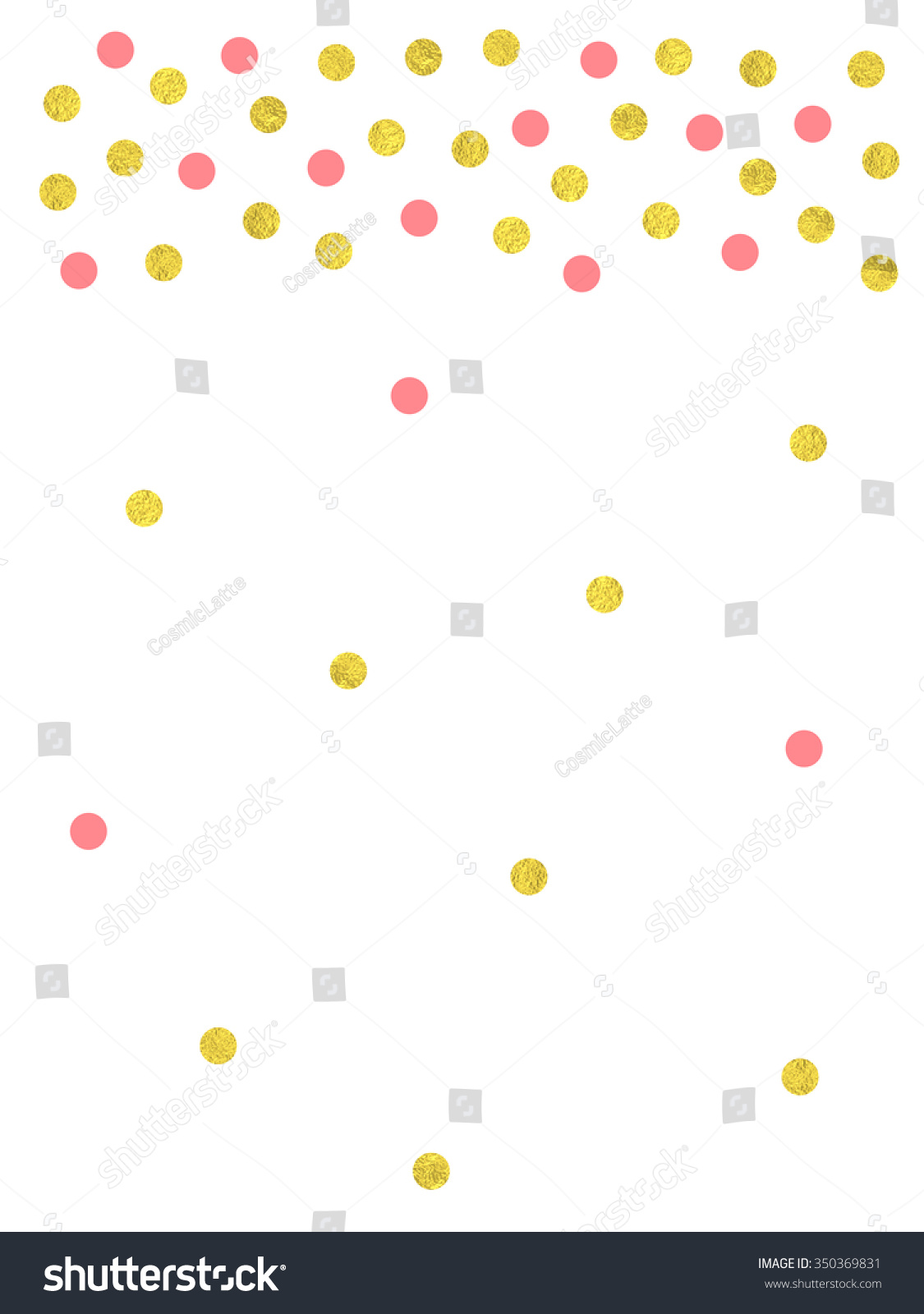 Gold And Pink Confetti Border Vector Illustration For Greeting Card Wedding Or Party Invitation