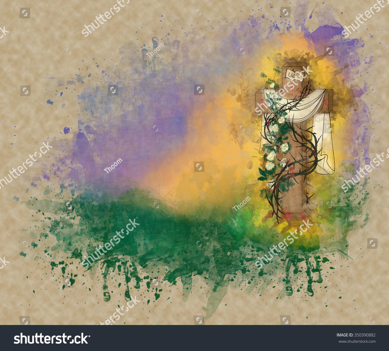 Happy Easter Risen Christ Religious Greeting Stock Illustration