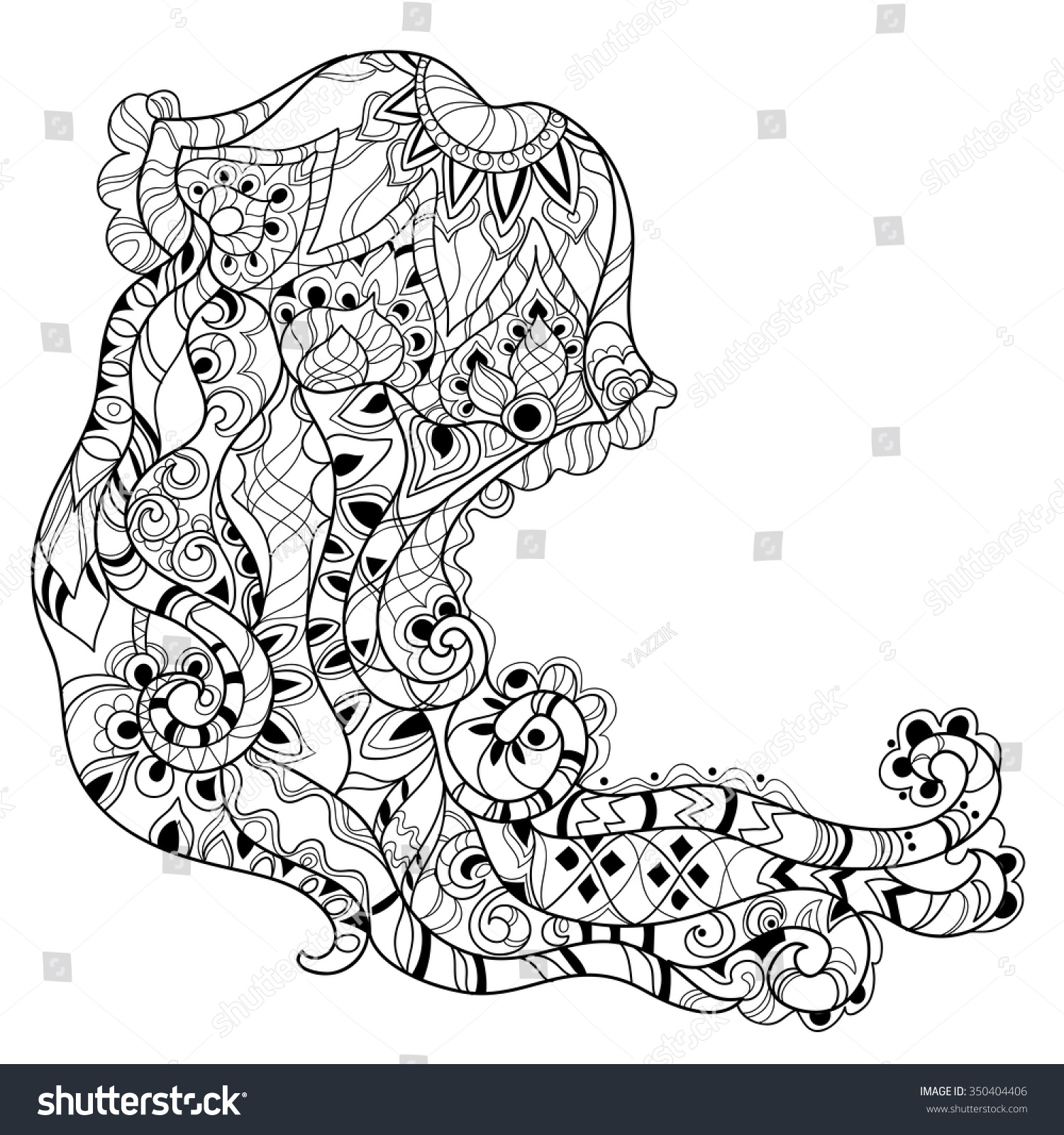 Coloring pages jellyfish - Zentangle Jellyfish Doodle Hand Drawn Vector Illustration Sketch For Tattoo Or Coloring Pages