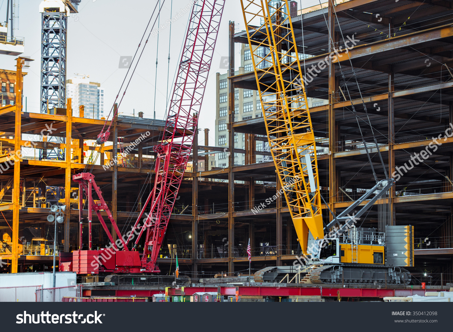 Tower Crane Ny : Tower cranes on skyscraper construction new stock photo