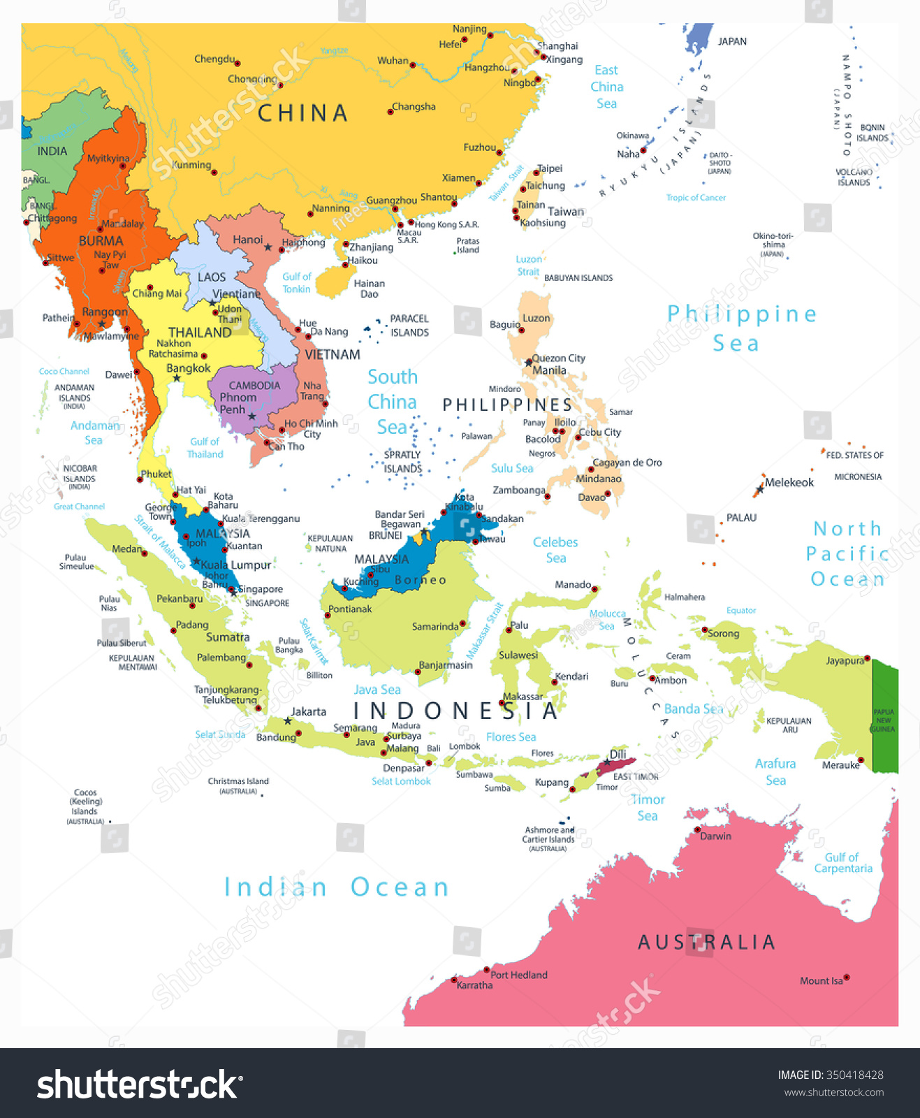 Political Map East Asia.Southeast Asia Political Map Isolated On Stock Vector Royalty Free
