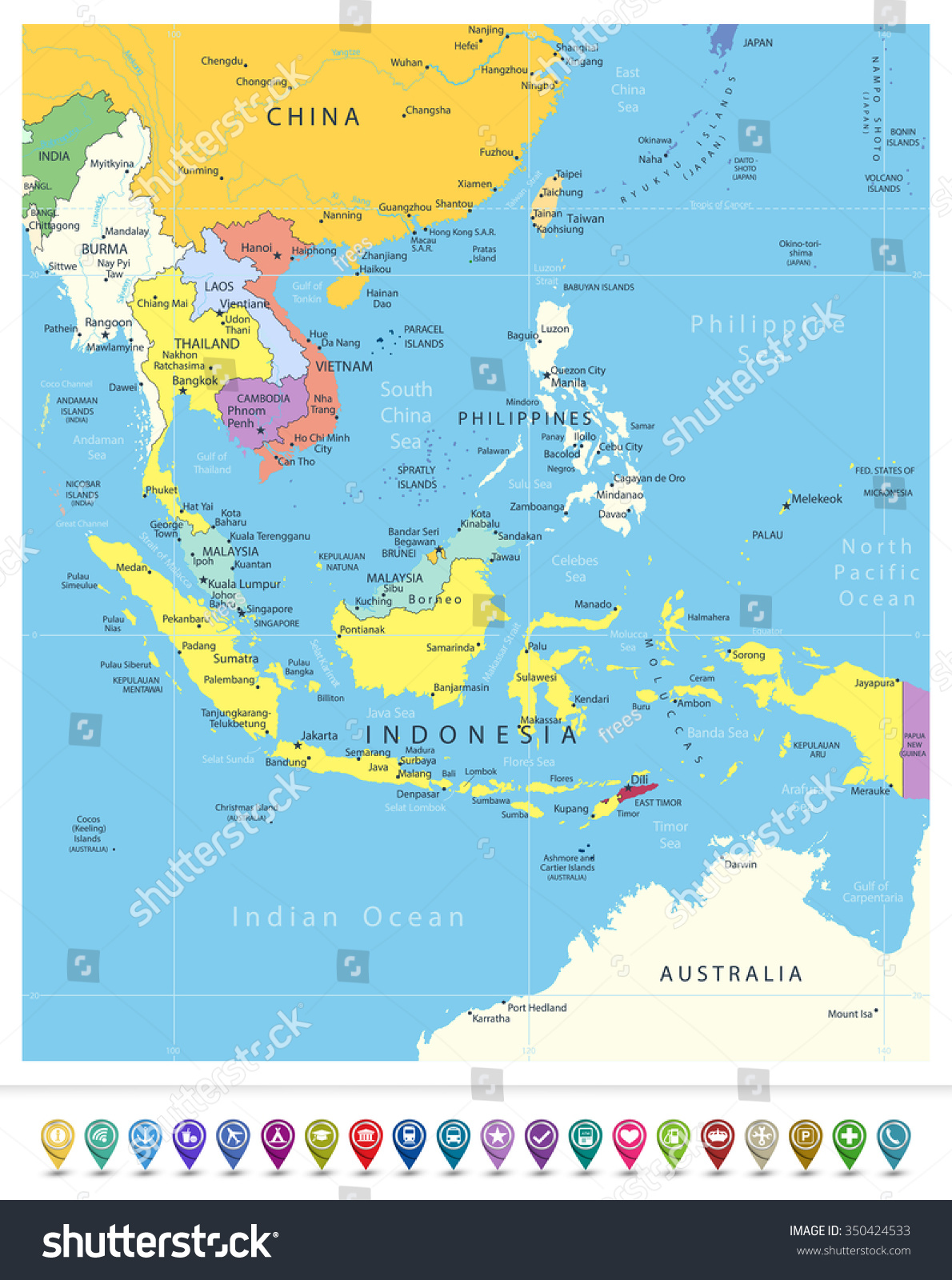 southeast asia political map and navigation icons all elements are separated in editable layers clearly