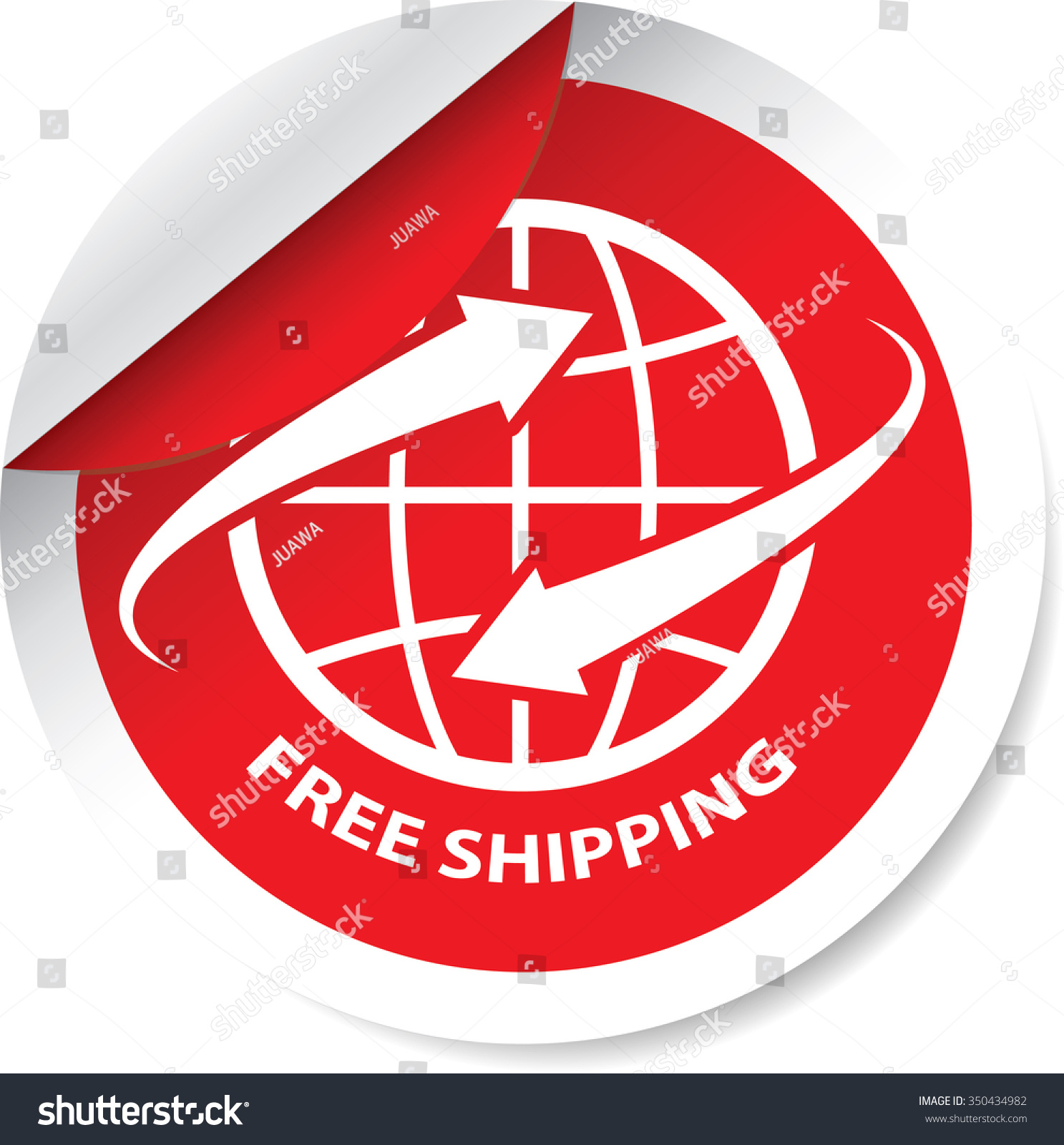 free shipping red label sticker tag stock illustration 350434982