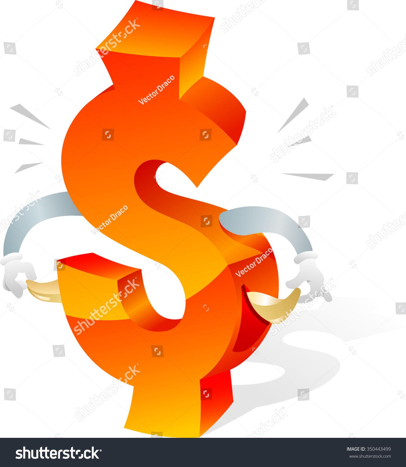Broke Us Currency Symbol Empty Pockets Stock Vector Royalty Free