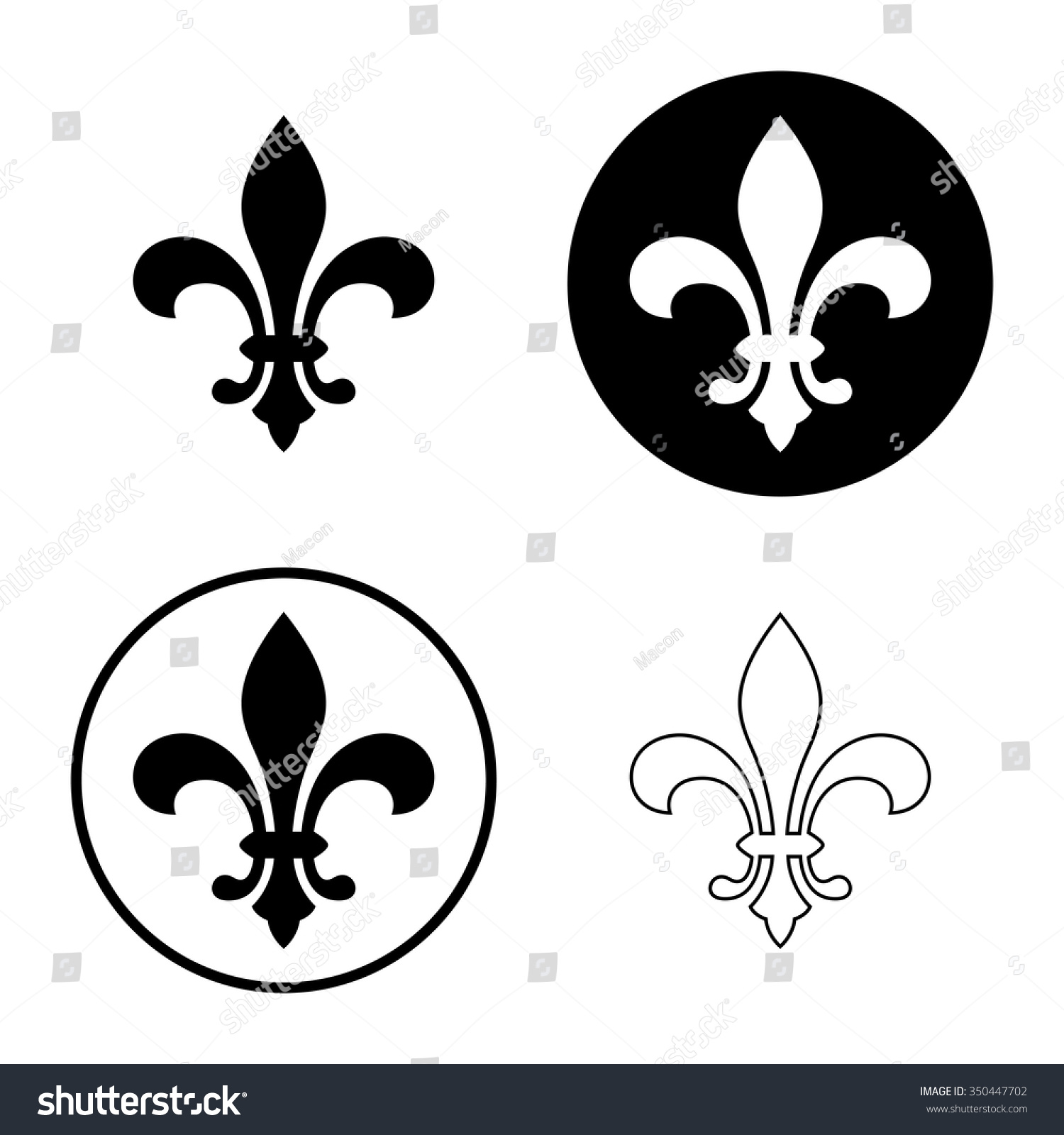 Fleur de lis lily flower icon stock vector royalty free 350447702 fleur de lis or lily flower icon set royal french heraldic symbol isolated on izmirmasajfo
